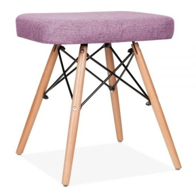 Eames Inspired DSW Low Stool Purple Fabric Front Shot