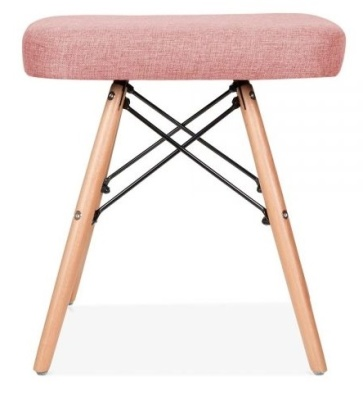 Eames Inspired Low Stool Pink Fabric Side Shot