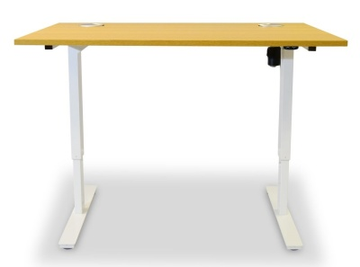 Dynamo Height Adjustable Sit Stand Dessk Beech Top Front Shot