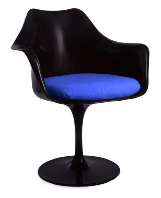 Black Tulip Chair With A Blue Cushion Front Angle