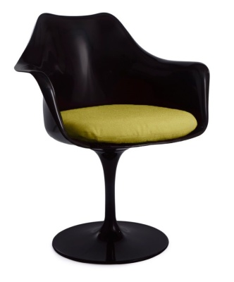 Tullip Chair With A Green Cushion Front Angle Shot