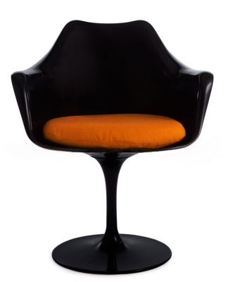 Bllack Tulip Chair With An Orange Cushion Front View