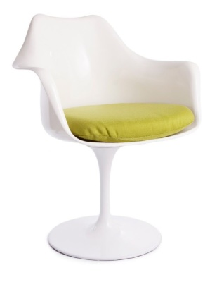 Tulip Chair With A Green Fabric Seat Fron Angle View