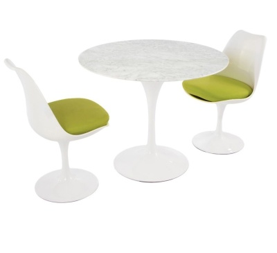 Tulip Dining Sets A Marble Top And Htwo Chairs With Green Cushions