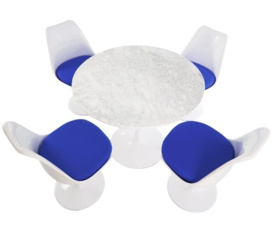 Tulip Set Of Four Chairs With Blue Cushions And A Round Table 900mm Diameter
