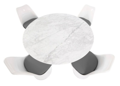 Tulip Dining Set With Four Chairs With Frey Fabric And A Round Table With A Marble Top - 1200mm Diameter