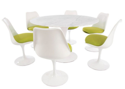 Tulip Dining Set With Six Tulip Chairs With Green Cushions And A 1200mm Round Table With A Marble Top