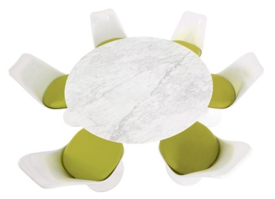 Tulip Dining Set With Six Tulip Chairs With Green Seats And A Ropund Table With A Marble Top