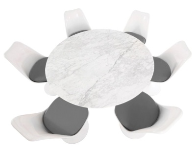 Tulip Dining Set With Six Tulip Chairs With Grey Aseats And A Round Table With A Marbel Top