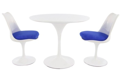 Tulip Dining Set With Two Tulip Chairs With Blue Seats And A Round Table With A 900mm White Top