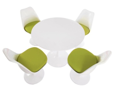 Tulip Dining Set With Four Chairs With Green Seats And A Round Table With A White Top