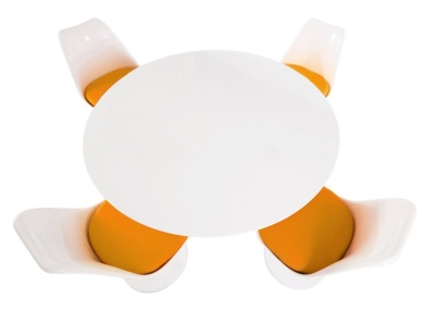 Tulip Dining Set With Four Tulip Chairs With Orange Seats And A Large Round Table