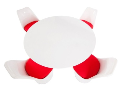 Tulip Dining Ser With Two Tulip Chairs With Red Fabric Seats And A Round Table 1200mm Diamter
