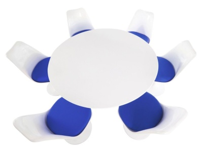 Tulip Dining Set With Blue Fabric Chairs And A Round Table With A White Top