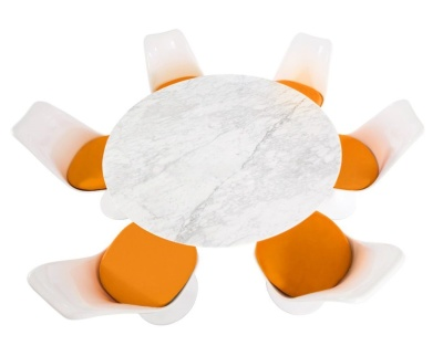 Tullip Dining Set With Six Tulip Chairs With Orange Seats And A Round Table With A Marble Top
