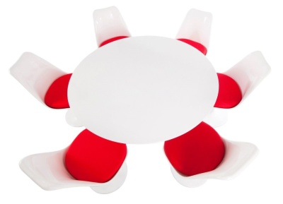 Tulip Dining Set With Six Chairs With Red Fabric And A Large Dining Table