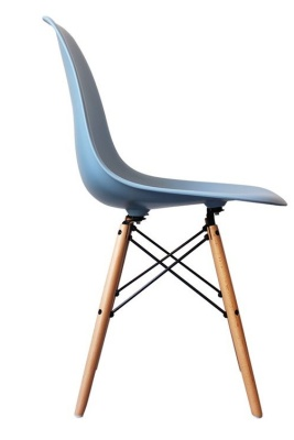 Eames Inspired DSW Childrens Chair With A Blue Seat Side View