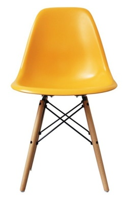 Eames Inspired DSW Childs Chair With A Yellow Seat Front View