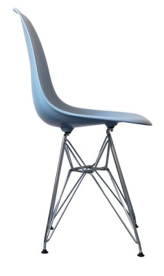 Eames Inspired DSW Childs Chair In Blue Side View