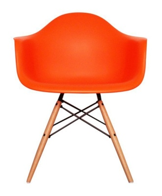 Eames Inspired DAW Childs Chair In Oranmge Front View