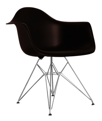Eames Inspired DAR Chair In Black Angle View