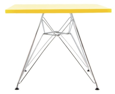 Eames Junior Dsr Square Table With A Yellow Top