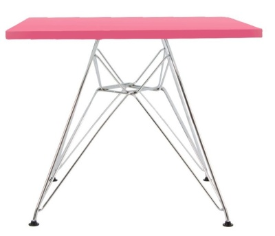 Eames Junior Dsr Table With A Pink Top Side View