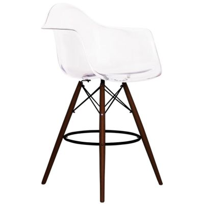 Eames Inspired DAW Stool With A Clear Shell And Walnut Legs