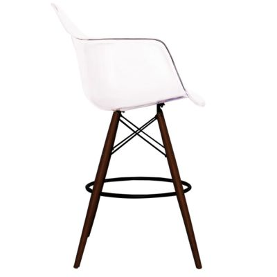 Eames Inspired High Stool With A Clear Seat And Walnut Legs Side View