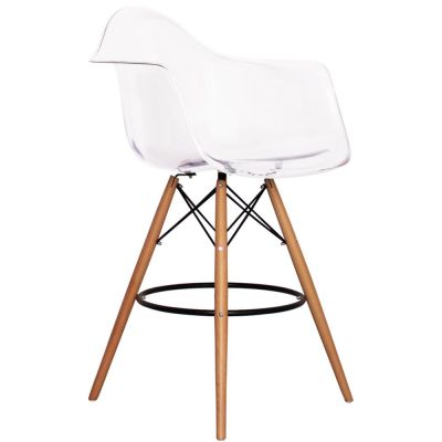 Eames Inspired DAR High Stool With A Clear Seat Front Angle View