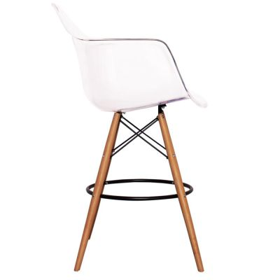 Eames Inspired DAR High Stool With A Clear Seat Side View