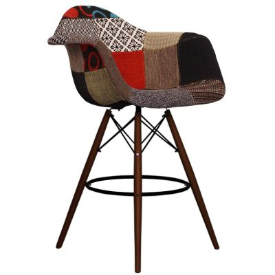 Eames Patchwork DAW High Stool With Walnut Legs Front Angle