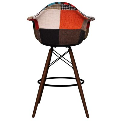 Eaes Daw High Stool With Patchwork Upholstery And Walnut Legs Rear View