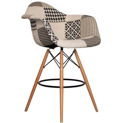 DAW High Stool With Black And Whhier Fabric Angle View