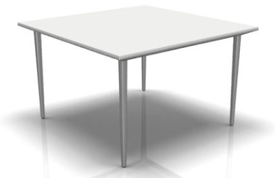 Longom Square Desk In White With Silver Legs