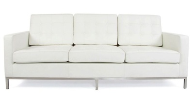 Florence Knoll 3 Seater Sofa In White Leather Front View