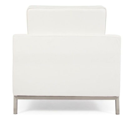 Florence Knoll Armchair In White Leather Rear View