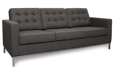 Florence Knoll Thre Seater Sofa In Grey Cashmere