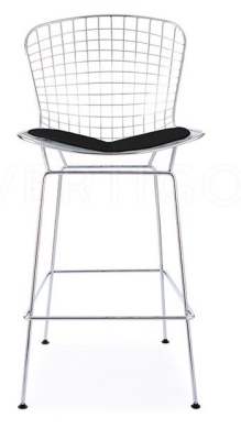 Wire High Stool With A Black Faux Leather Seat Front Shot