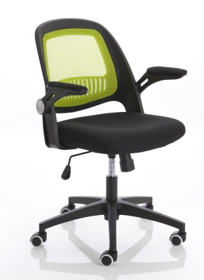 Contect Mesh Chair With A Green Mesh Back Front Angle Shot