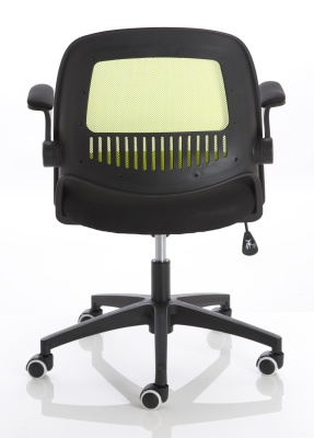 Context Mesh Chair With A Lime Green Back Rear View