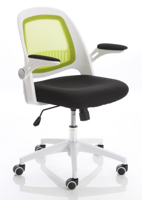 Context Mesh Chair With A Green Back And White Frame Front Angle