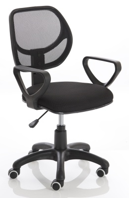 Turin Mesh Chair In Black Front Angle