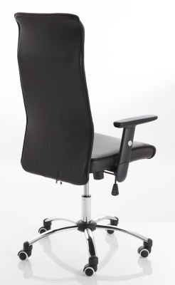 Turino Black Leather Chair Rear Angle