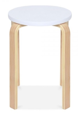 Chill Wlooden Low Stool With A White Seat