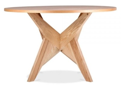 Icon Round Dining Table In A Natural Finish 2