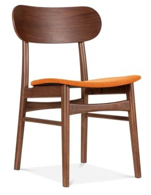 Ontario Wooden Dining Chair With An Orange Seat Front Angle
