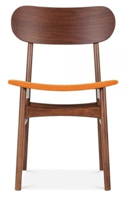 Ontario Wooden Ding Chair With An Orange Fabric Seat Front Shot