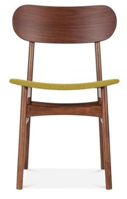 Ontario Dining Chair With An Olive Fabric Seat Front View