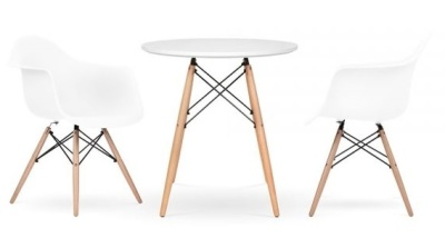 Eames Inspired Two Person Dining Set In White